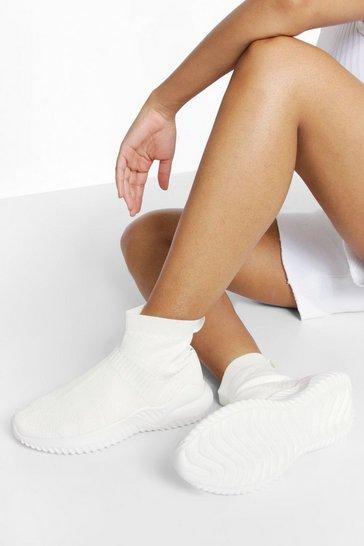 White Woman Script Sock Trainer