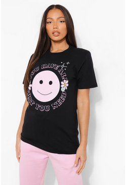 Black Tall Oversized Smiley T-Shirt