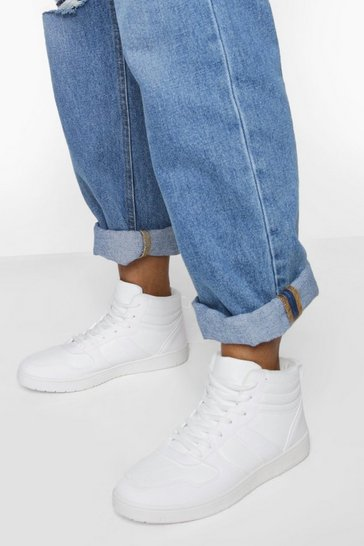 White Sporty Panelled High Top Trainer