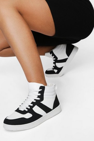 Mono multi  Sporty Panelled High Top Trainer