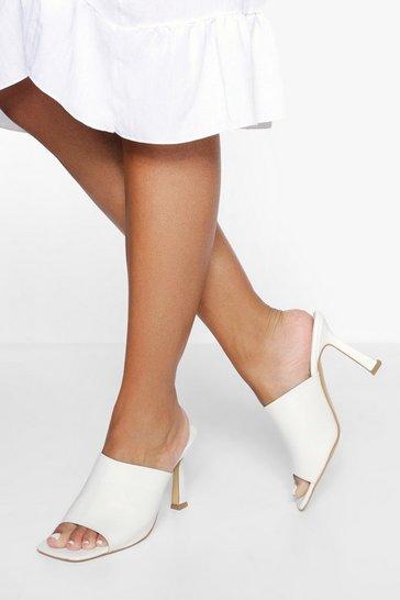 White Minimal Square Toe Mule