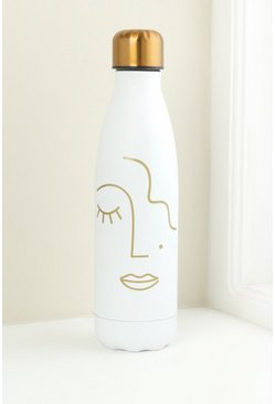 White Abstract Face Stainless Steel Bottle