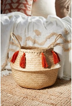 Natural beige Terracotta Tassel Basket
