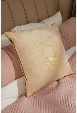 White Embroidered Moon Design Piped Cushion