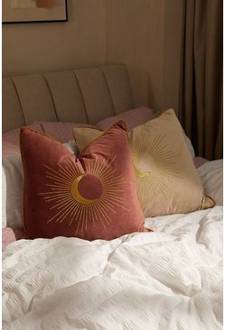 Blush pink Embroidered Moon Design Piped Cushion