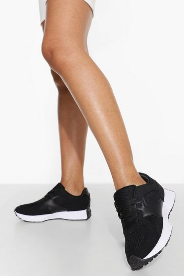 Black Panelled Runner Trainer