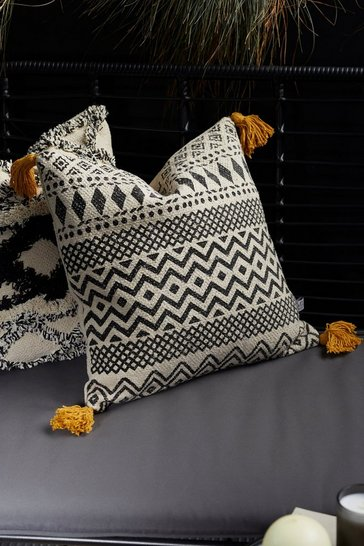 Blackwhite black Scandi Boho Geo Cushion