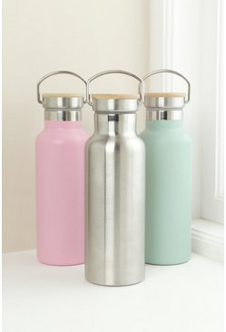 Silver Stainless Steel Water Bottle With Bamboo Lid