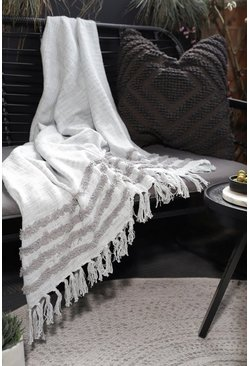 Tufted Grey Blanket Throw