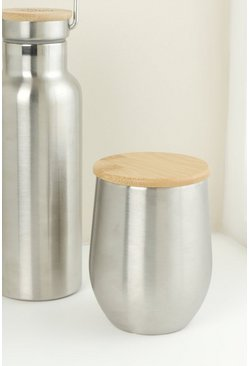 Silver Stainless Steel Cup With Bamboolid
