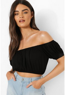 Black Off The Shoulder Puff Sleeve Top
