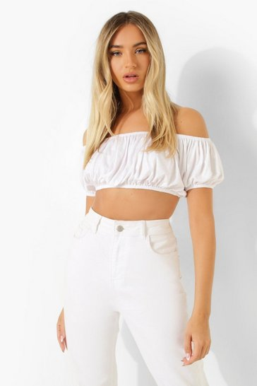White Off The Shoulder Puff Sleeve Top