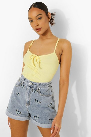 Lemon yellow Ruched Front Strappy Crop Top