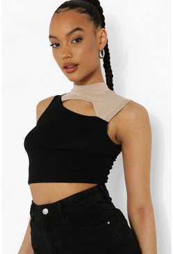 Black Cut Out Two Tone Sleeveless Crop Top