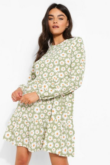 Sage green Floral Print Drop Hem Smock Dress
