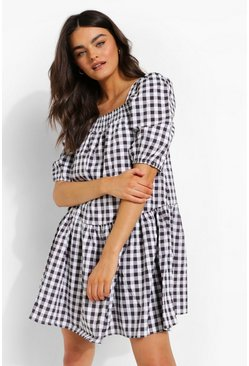 Black Gingham Square Neck Smock Dress