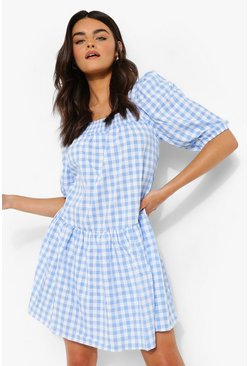 Blue Gingham Square Neck Smock Dress
