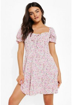 Ditsy Floral Puff Sleeve Skater Dress, Lilac violet