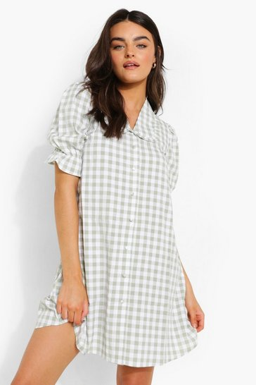 Sage green Gingham Collared Shift Dress