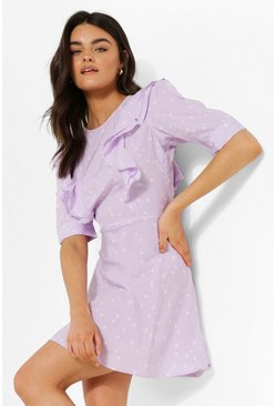 Lilac purple Polka Dot Ruffle Skater Dress