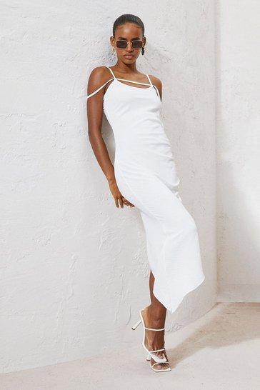 Cream white Linen Tie Back Midaxi Dress