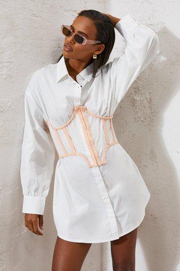 Nude Mesh Corset Detail Shirt Dress