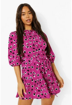 Pink Leopard Print Drop Hem Skater Dress