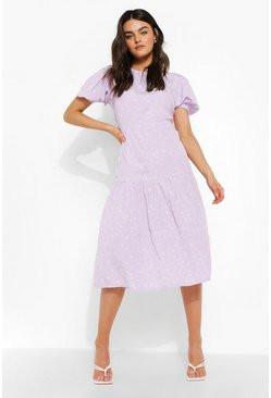 Lilac purple Polka Dot Short Sleeve Midi Smock Dress