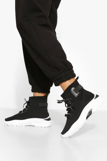 Black Lace Up Sock Trainer