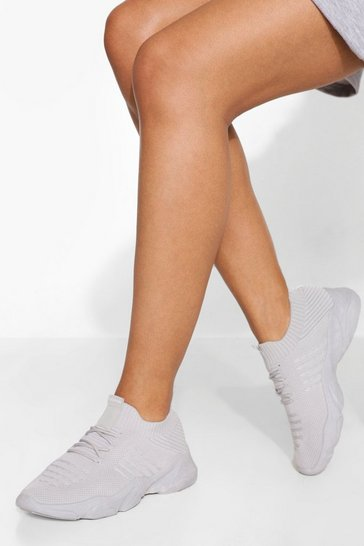 Grey Tonal Knitted Sports Trainer