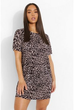 Black Leopard Print Short Sleeve T Shirt Dress