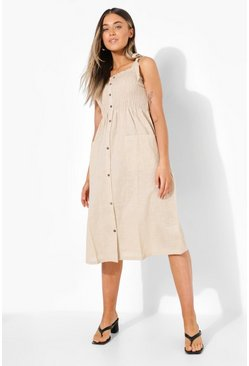 Shirred Bust Button Up Midi Dress, Stone beis