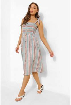 White Stripe Tie Strap Button Up Midi Dress