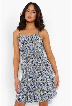 Blue Ditsy Floral Plisse Skater Dress