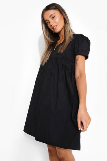 Black Puff Sleeve Smock Mini Dress