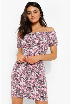Pink Bardot Floral Print Mini Dress