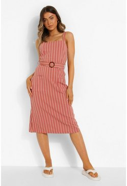 Pink Striped Belt Detail Midaxi Dress