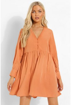 Orange Button Through Smock Dress