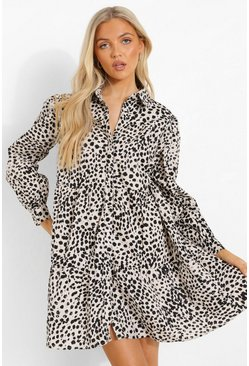 White Animal Print Shirt Smock Dress