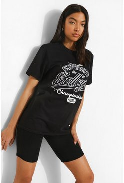 Black Tall Oversized University T-Shirt