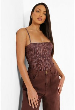 Chocolate Tall Croc Strappy Jersey Bodysuit