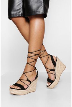 Black svart Caged Gladiator High Wedge