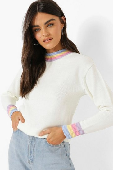 Ivory white Pastel Trim Jumper