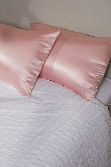 Pink Heart Satin Hair Proctect Pillow Case 2 Pack