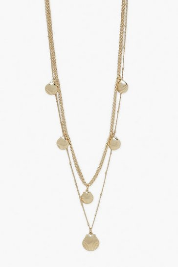 Gold metallic 2 Pack Shell Charm Necklace