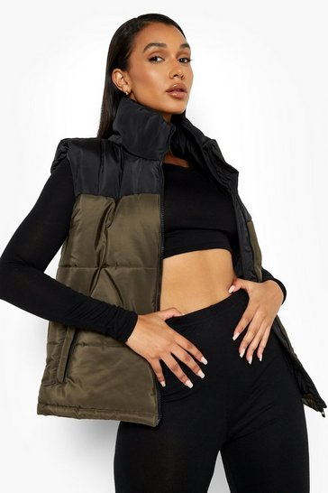 Khaki Colourblock Gilet