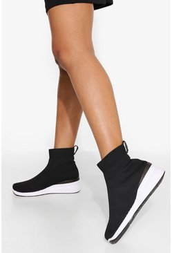 Black Chunky Sock Trainer