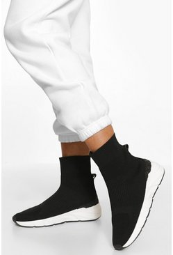 Black Contrast Sole Knitted Sock Trainer