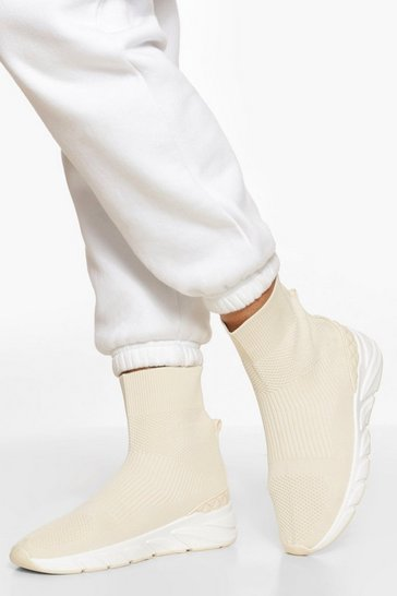 Cream white Contrast Sole Knitted Sock Trainer