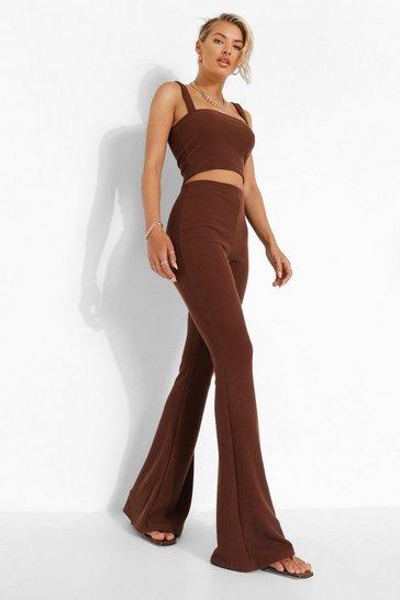 Chocolate brown Crinkle Skinny Flared Trousers